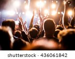 rear view of festival crowd... | Shutterstock . vector #436061842