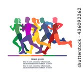 running people. colorful hand... | Shutterstock . vector #436092262