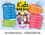 colorful kids meal menu vector... | Shutterstock .eps vector #436106416