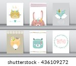 bo ho animals in hand drawn... | Shutterstock .eps vector #436109272