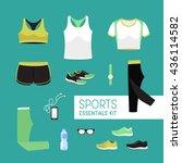sports essentials set   kit.... | Shutterstock .eps vector #436114582