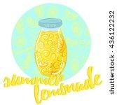 hand drawn lemon  lemon slice ... | Shutterstock .eps vector #436122232