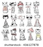 vector illustration of cat set... | Shutterstock .eps vector #436127878