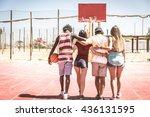 multiracial sportive friends...   Shutterstock . vector #436131595