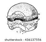 bitten burger. tasty burger. ... | Shutterstock .eps vector #436137556