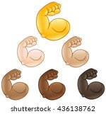 flexed biceps hand emoji of... | Shutterstock .eps vector #436138762