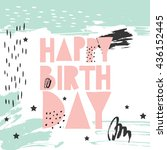 hand drawn vector birthday card ... | Shutterstock .eps vector #436152445