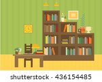 cabinet and library. books and... | Shutterstock .eps vector #436154485