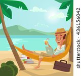 man relaxes on beach. man have... | Shutterstock .eps vector #436156042