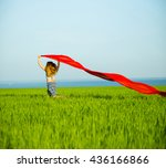 young lady runing with tissue... | Shutterstock . vector #436166866