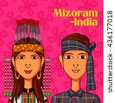 vector design of mizo couple in ...   Shutterstock .eps vector #436177018