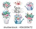 set of watercolor bouquets ....   Shutterstock . vector #436183672