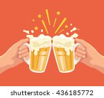 toast with beer. two hands.... | Shutterstock .eps vector #436185772