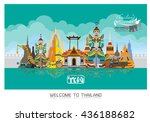 thailand detailed skyline.... | Shutterstock .eps vector #436188682