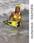 pretty woman in sexy yellow... | Shutterstock . vector #436191856