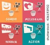 movie genres. retro movie... | Shutterstock .eps vector #436193932