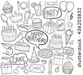 birthday party doodle icons... | Shutterstock .eps vector #436203832