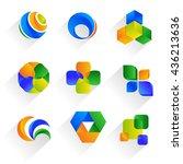 colorful symbols. set of logos. ... | Shutterstock .eps vector #436213636