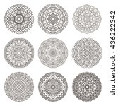 set of circular ornaments ... | Shutterstock .eps vector #436222342
