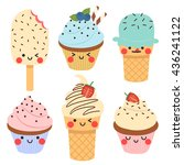 set of six cute simple cupcakes ... | Shutterstock .eps vector #436241122