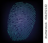 fingerprint made with binary... | Shutterstock .eps vector #436252132