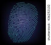 fingerprint made with binary... | Shutterstock .eps vector #436252132