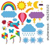 vector set of cute sky icons... | Shutterstock .eps vector #436253152