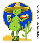 the comic image of a cactus in... | Shutterstock .eps vector #436256092