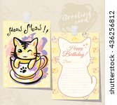greeting card with a cat in the ... | Shutterstock .eps vector #436256812