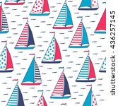 sails in polka dots and stripes.... | Shutterstock .eps vector #436257145