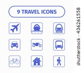 travel and transport icon set...
