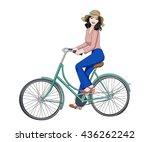 beautiful happy brunette girl... | Shutterstock .eps vector #436262242
