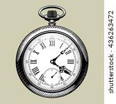 old clock face. retro pocket... | Shutterstock .eps vector #436263472