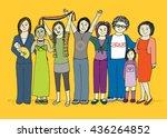 group of women celebrating... | Shutterstock . vector #436264852