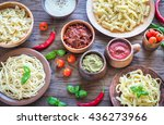 pasta with different kinds of... | Shutterstock . vector #436273966