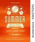 summer beach party holidays... | Shutterstock .eps vector #436275292