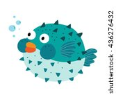 Blue Blowfish Cartoon Characte...