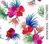 amazing vector tropical flowers ... | Shutterstock .eps vector #436276882