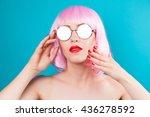 beautiful woman wearing pink... | Shutterstock . vector #436278592