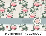 vector card with ribbon. peony... | Shutterstock .eps vector #436280032