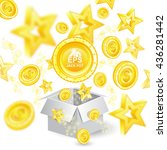 golden coins and stars with...