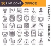 vector thin line icons.... | Shutterstock .eps vector #436299658