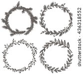 hand drawn frames. vector set.... | Shutterstock .eps vector #436318552