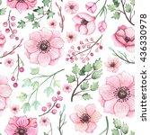 watercolor pink berries ... | Shutterstock . vector #436330978