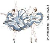 watercolor ballerina. vector | Shutterstock .eps vector #436340215