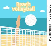 beach volleyball. hand athlete... | Shutterstock .eps vector #436341382