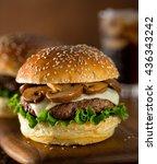 a delicious gourmet hamburger...   Shutterstock . vector #436343242
