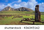 Small photo of Moai Ha'ere Ki Haho (The Traveling Moai), at the entrance of Ahu Tongariki, Easter Island, Chile. In the background, the Rano Raraku Volcano, where most Moais were carved.
