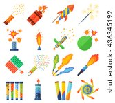 set of pyrotechnic rockets | Shutterstock .eps vector #436345192