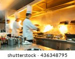 chef in restaurant kitchen at... | Shutterstock . vector #436348795